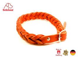 Flechthalsband rot, 30 mm breit, Edelstahlverschluß