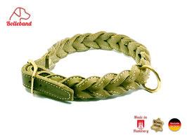 Gringo classic 30 mm breit oliv/creme, Flechthalsband