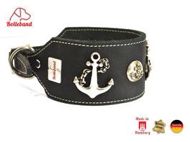 Windhundhalsband Anker 6,0 schwarz Leder Bolleband