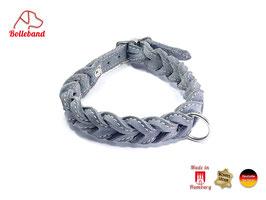 Gringo classic 23 mm breit grau/creme, Flechthalsband