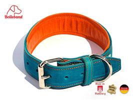 Lederhalsband Classic 4,0 türkis orange gepolstert