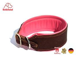 Windhundhalsband Classic 4,5 Leder braun rosa gepolstert