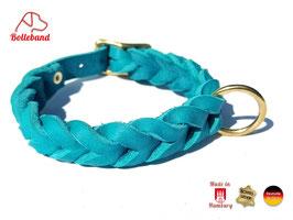 Lederhalsband geflochten Gringo türkis 15mm breit