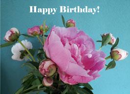 Losse Ansichtkaart Tekst 'Happy Birthday'