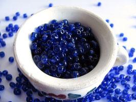 Rocailles dunkelblau transparent