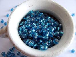 Rocailles blau Silbereinzug
