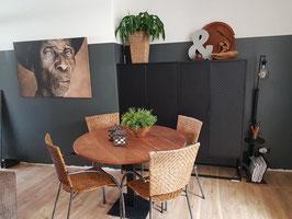 VERKOCHT - Tafel #11 - eettafel rond 110 cm industrieel