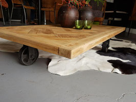 Tafel #17 - lage salontafel 140 x 70 cm metaal/hout industrieel