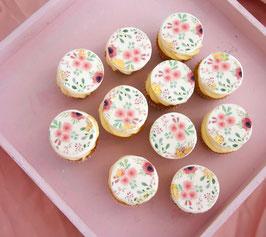 24 mini Cupcakes mit aquarell Blumentopper