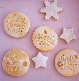 Merry Christmas Cookie mit Tannenzweigen