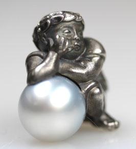 """Fuggerengel"", Nr. 2, groß,  925/- Sterling Silber, geschwärzt Süßwasserperle"