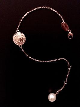 """MünzSüdseeperle-Armband"", 925/- Sterling Silber, Roségold plattiert"