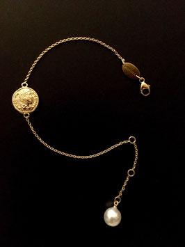 """MünzSüdseeperle-Armband"", 925/-Sterling Silber, Gold plattiert"