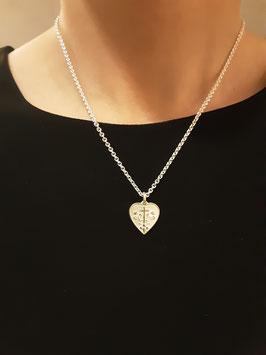 """Friedberger Wappen"" - Herz doubliert, 925/- Sterling Silber (vorne), 900/- Gold auf Silber geschweißt (hinten)"