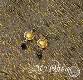 Boucles d'oreilles romantique steam perles noires