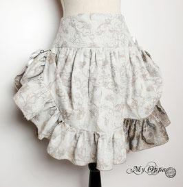 Jupe courte steampunk mori blanc cassé/beige/gris