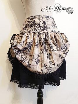 Jupe courte curiosity steampunk fleurs noires
