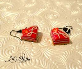 Boucles d'oreilles gateau fraise