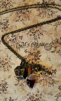 Collier steampunk fiole clé coffre
