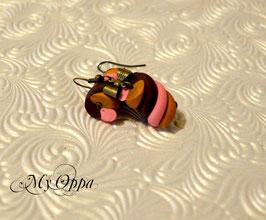 Boucles d'oreilles guimauve choco/fraise