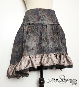 Jupe steampunk double face grise baroque