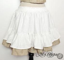 Jupe courte taille élastique blanc/beige