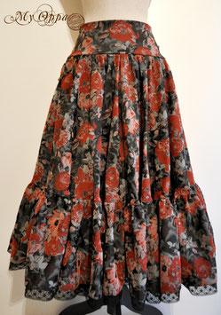 Jupe longue rouge/grise/noire à fleurs