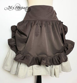 Jupe taupe et rayée steampunk boutons