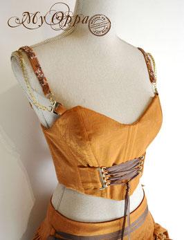 Haut corseté orange bohème burlesque