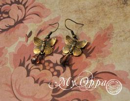 Boucles d'oreilles papillons perles