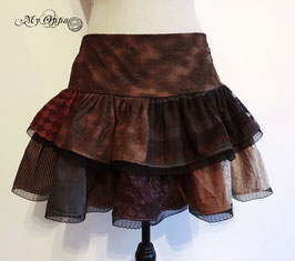Jupe patchwork steampunk courte marron