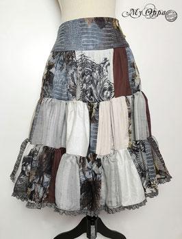 Jupe patchwork gris/marron