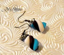 Boucles d'oreilles guimauve bleu/choco