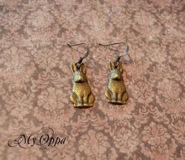 Boucles d'oreilles petits lapins laiton