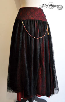 Jupe longue bohème noire et rouge