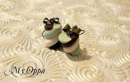 Boucles d'oreilles guimauve choco/menthe
