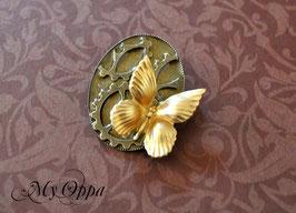 Broche Rouages papillon