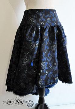 Jupe noire/ bleue fleurs poésie