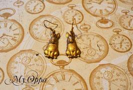 Boucles d'oreilles petits lapins doré