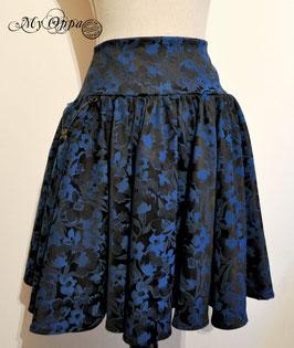 Jupe mori dark bleu electrique fleurs