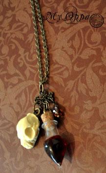 Collier sautoir crane et fiole