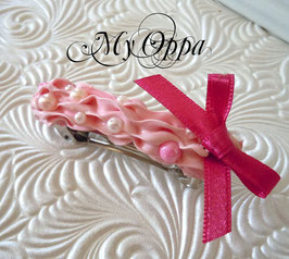 Barrette chantilly rose