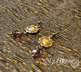 Boucles d'oreilles romantique steam perles peche