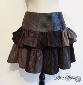 Jupe patchwork steampunk courte grise