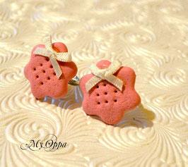 Bague biscuit rose (noeud blanc)