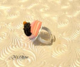 Bague gateau fraise support dentelle