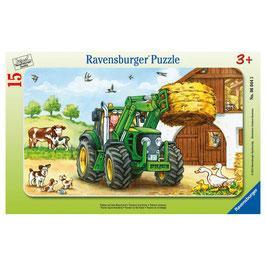 John Deere Trakotr auf dem Bauernhof - Rahmenpuzzle