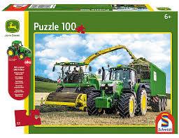 Puzzle John Deere 6195M und Feldhäcksler 8500i mit Siku Traktor