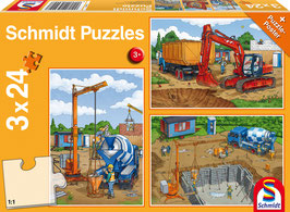 Auf der Baustelle - Puzzle 3x24 Teile