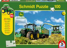 John Deere 7310R Traktor mit 8600i Feldhäcksler (Puzzle + Siku Traktor)